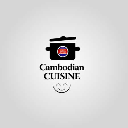 cambodian flag: Cambodian Cuisine icon Illustration