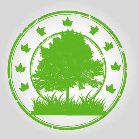 recycles: Green tree stamp