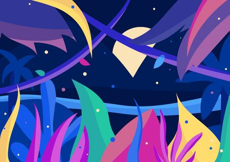 Vibrant full moon night in the jungle. Colorful 2d postcard with palms, flowers and fireflies. Fantasy vector illustration with blue, purple, green elements and Indigo background. EPS10, editable.