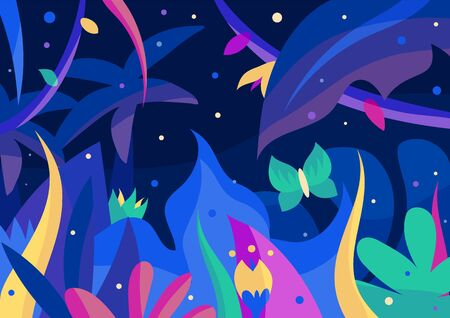Colourful night jungle postcard with palms, flowers, fireflies and butterfly. Fantasy 2d vector illustration with blue, purple, green, cyan, violet elements and Indigo background. EPS10, editable.