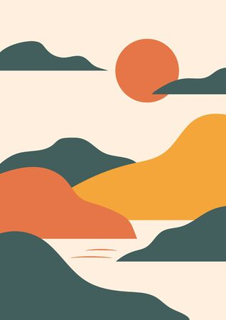 Simple vector landscape poster with hills, sun, sea, vintage oriental style. Warm retro red, yellow, beige, green. Trendy vertical print for t-shirt, cover, decor. EPS10, editable.