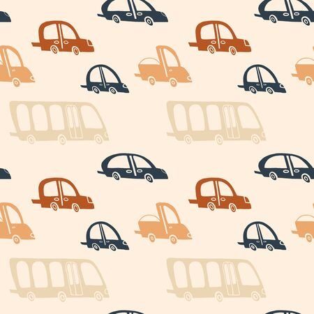 Boy background in autumn colors. Beige, orange, cream white and dark blue hand drawn cars seamless pattern. Vector cute children print for apparel, textile, fabric, wrapping paper. EPS10, editable Vectores