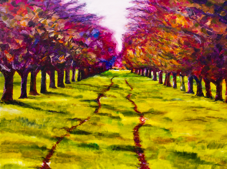 follow through: Contemporary painting of a path through a line of trees, an orchard in summer Stock Photo