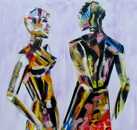 interacting: Do you come here often, Painting of mannequin,robotic style models interacting.