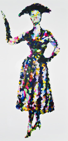 50s fashion: 50s Perfection, contemporary acrylic painting inspired by 1950s fashion, posed, elegant with gloves and hat