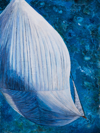 spinnaker: Spinnaker from above art work in mixed media Stock Photo