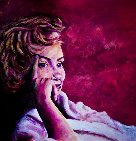 monroe: Acrylic painting of 1950s lady in bath robe inspired by images of Marilyn Monroe