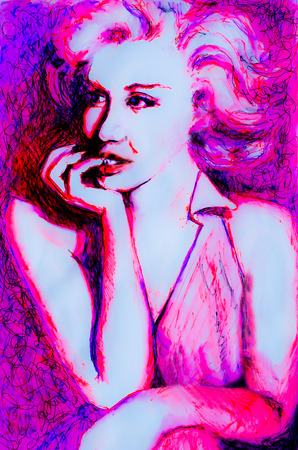 marilyn: Pensive Ink drawing of 1950s lady in neon pink inspired by images of Marilyn Monroe