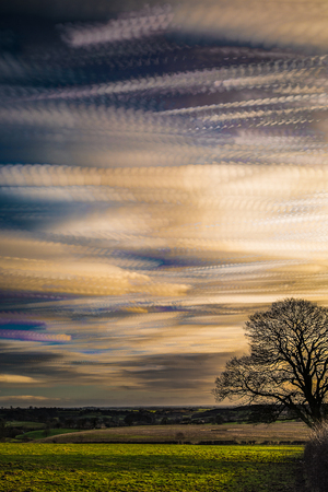 timelapse movement of clouds at sunset with silhouette of tree and far reaching scenic landscape