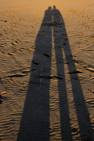 sea side shadows Playing with shadows in the late evening sun on the beach 版權商用圖片