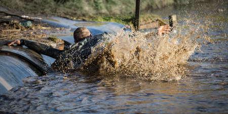 Deep muddy water with man slipping into the water