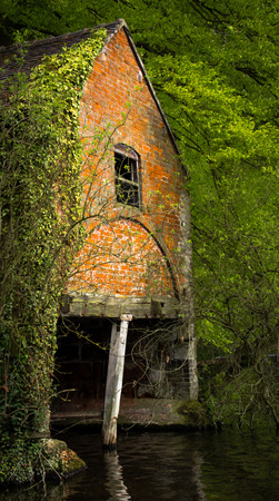 Old derelict boat house with ivy growing over