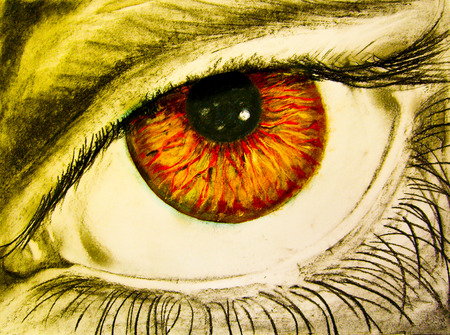 Drawing of eye with orange pupil
