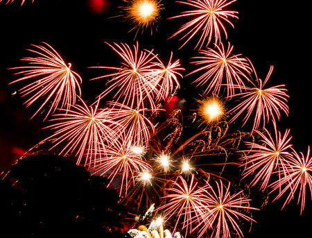 ninth: Red star bursts. Spectacular fireworks  at a national fireworks championship in its ninth year. Three of the UK best firework companies compete with a 10-minute firework display.