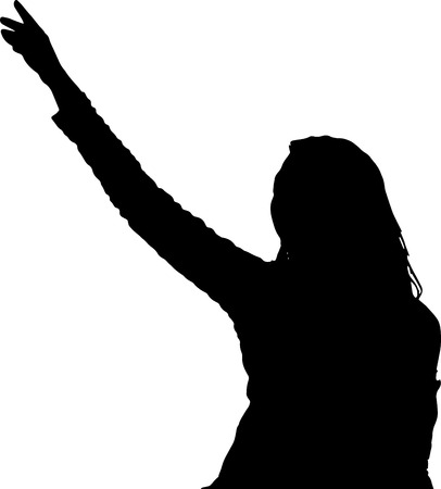 Dancing girl silhouettes shadow model vector figure  イラスト・ベクター素材
