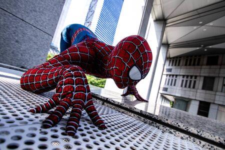 Tokyo, Japan - June 15, 2019: Man in superhero costume comic marvel spiderman on the street