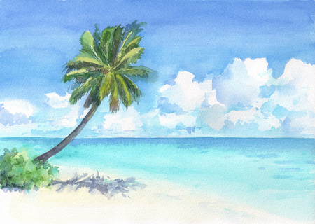 Wonderful tropical beach with palm tree. Watercolor hand drawn illustration. 写真素材