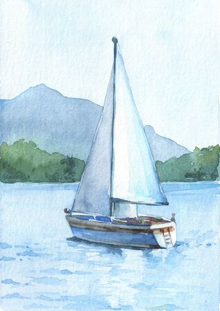 Sailboat with white sails in the lake on the beautiful mountains background. Watercolor hand drawn illustration