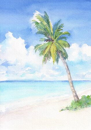 Paradise tropical beach with palm tree. Watercolor hand drawn illustration. Фото со стока