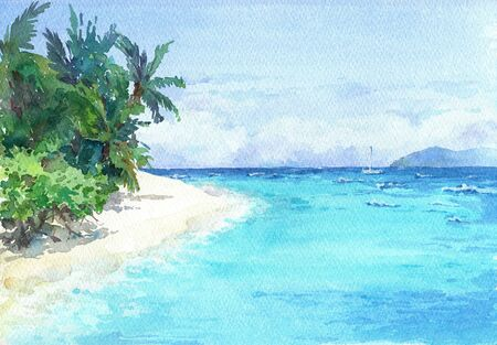 Blue lagoon beach with palms and white sand. Watercolor hand drawn illustration. Фото со стока