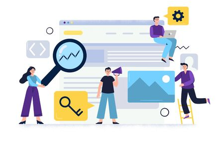 Creative concept of SEO optimization and Web banner marketing. Web developers working in team to improve site visits and conversions rate. Flat illustration good for banners, ads, landing pages or other web promotion issue.