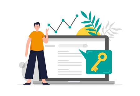 Search engine optimization concept. Man do keywords research to improve website page rank. Flat Vector illustration good for banners, ads, landing pages or other web promotion issue.