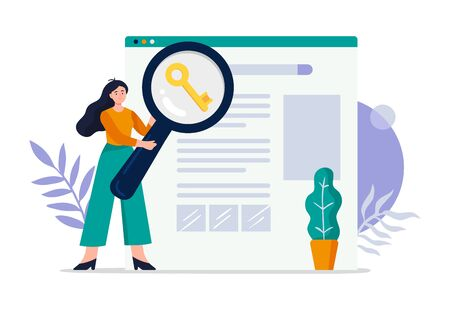 Cute search engine optimization concept. Girl do keywords research to improve website page rank. Flat Vector illustration good for banners, ads, landing pages or other web promotion issue.