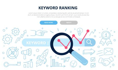 Search engine optimization and keyword ranking concept. Vector illustration with many doodle elements. Good for banners, ads, news, landing pages or other web promotion or SEO issue. Illustration