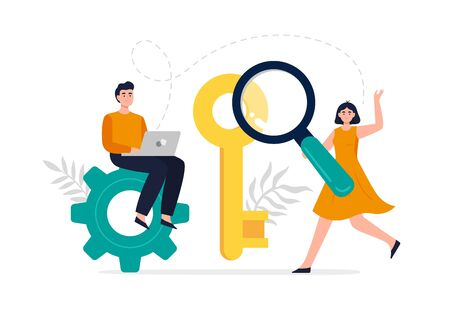 Modern search engine optimization concept. Web developers search for keywords to improve website page rank. Flat Vector illustration good for banners, ads, landing pages or other web promotion issue.