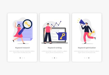 Stylish search engine optimization concepts: keyword research, ranking and optimization. Web developers team search for keywords to improve website page rank. Flat Vector illustration good for banners, ads, landing pages or other web promotion issue. Illustration