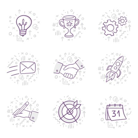 Set of cool illustration in doodle style: idea, wining, technology, mailing, cooperation, writing, achievements and deadline. Vector on business theme can be used in education, bank, It, SaaS, finance, marketing and other areas.