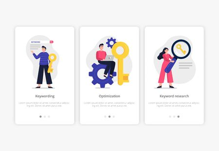 3 search engine optimization illustrations: keywording, optimization and keyword research. Web developers team search for keywords to improve website page rank. Modern flat Vector good for banners, ads, landing pages or other web promotion issue. Illustration