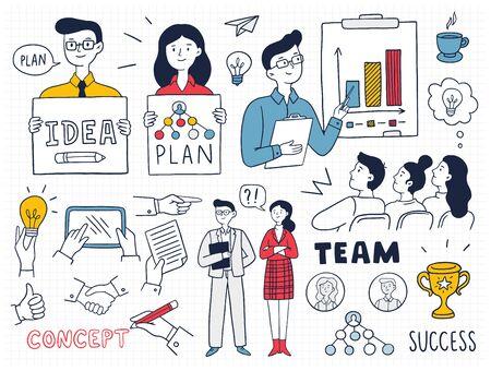 Bunte Geschäftskonzepte und Symbole mit vielen Menschen. Niedliche Vektorillustration im Doodle-Stil kann in Bildung, Bank, IT, SaaS, Finanzen, Marketing und anderen Geschäftsbereichen verwendet werden.