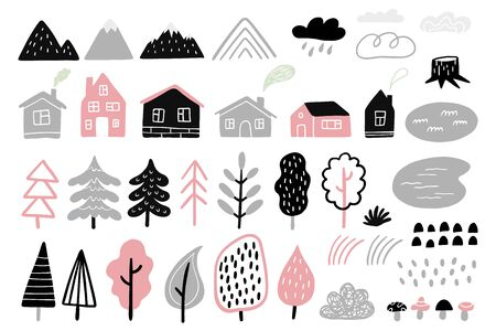 Set of hand-drawn forest and outdoor elements. Vector illustration
