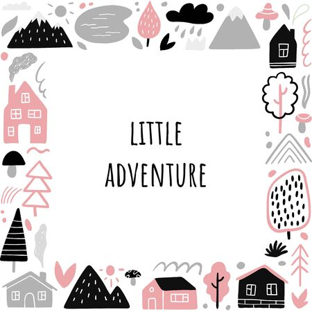 Cute frame on travel theme with text Little Adventure. Vector illustration with country houses, mountains, trees, sun, rain and other nature and outdoor elements.