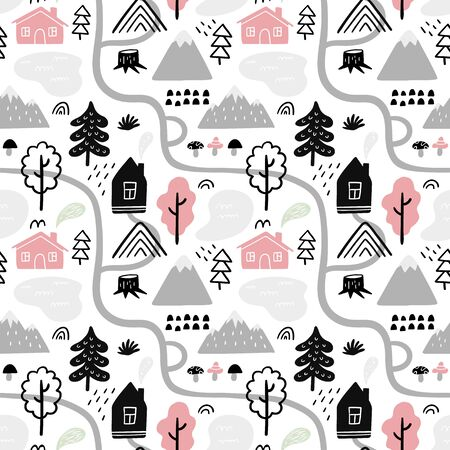 Beautiful seamless pattern on travel theme. All is need for a good adventure: country houses, mountains, trees, paths and other nature and outdoor elements. 向量圖像