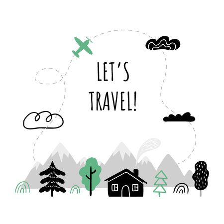 Beautiful Vector illustration on travel theme with text Little Adventure. Country houses, mountains, trees, sun, rain and other nature and outdoor elements.