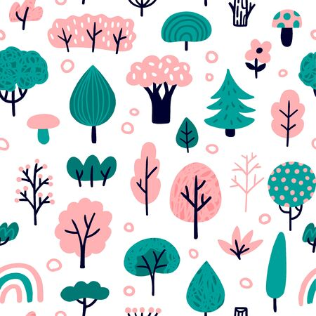Woodland Seamless pattern. Cute Vector Illustration with different trees. Good for postcard, wallpaper, background, sites, print or embroidery.