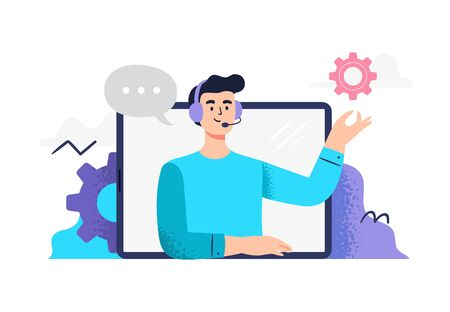 Handsome man answers phone calls, chatting with customers and help clients. Flat Vector illustration good for telemarketing, call centers, helpline or customer service.