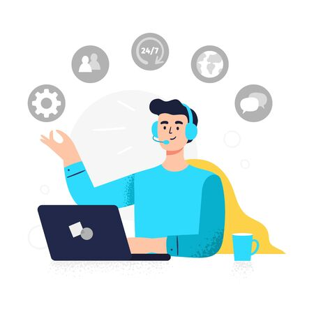 Modern customer service illustration. Positive man answers phone calls, chatting with customers and help clients. Flat Vector illustration good for telemarketing, call centers, helpline or other businesses.