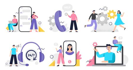 Set of customer service illustration. Girls and men answer phone calls, chatting with customers and help clients. Flat Vector illustration good for telemarketing, call centers, helpline or other businesses.