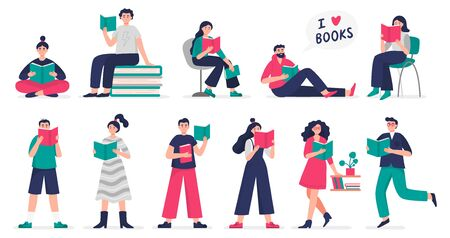 Stylish people love to study and read books. Set of vector Illustration people in modern flat style can be used by libraries, book fairs, stores and schools.