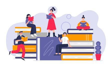 Cute people studying and reading on giant books. Vector Illustration in modern flat style can be used by libraries, book fairs, stores and schools.