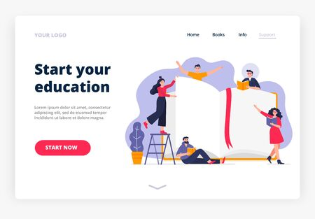Landing page template of the Education process. Modern flat design concept with many people who read books. Easy to edit and customize. Vector illustration.