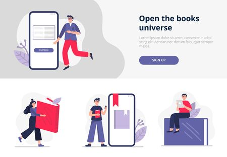 Set of banners on e-books and reading themes. People study online, read paper or electronic books on their devices. Vector illustration in flat style can be used by libraries, apps, landing pages, stores, schools or e-commerce.