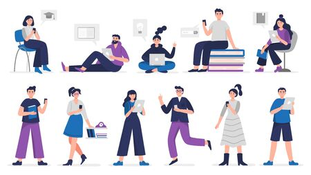 Cute people study and read books on phones, laptops, computers and tablets. Digital library Vector illustration concept.