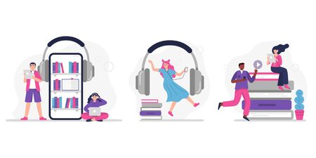 People listen to music, audiobook, podcast or language lessons. Set of concepts with people. Vector Illustrations in a modern flat style.  イラスト・ベクター素材