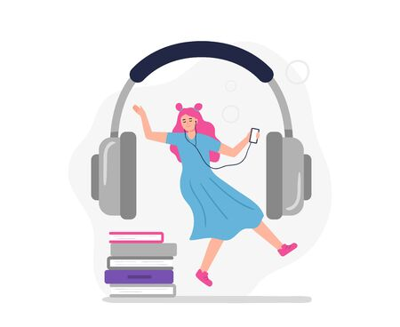 Woman listens to audiobooks, podcasts, and online courses. Vector concept in a modern flat style can be used on the web pages, apps, banners.