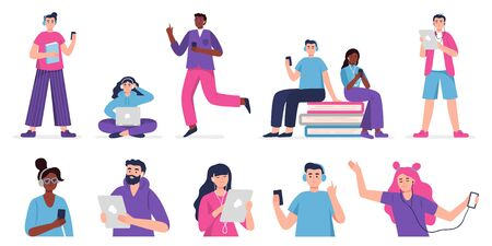 People listen to music, audiobook, podcast or language lessons. Set of vector Illustration people in modern flat style.