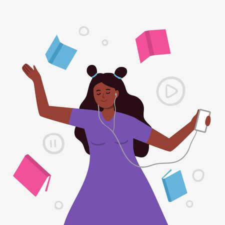 Female character with headphones. Vector illustration of a woman listens to music, audiobook, podcast or language lessons.